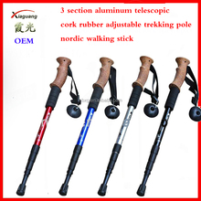 3 section aluminum telescopic cork wood rubber adjustable trekking pole nordic wooden walking stick