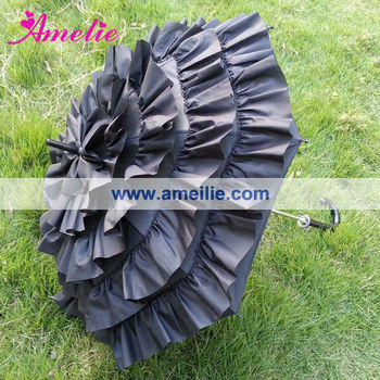 A0259 Frilly black decorative umbrella
