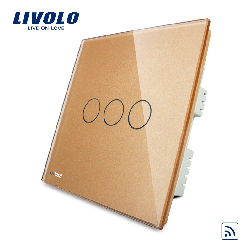 Livolo Golden Glass Panel 3 gang 1 way Touch Remote Control Power home automation Light Switch