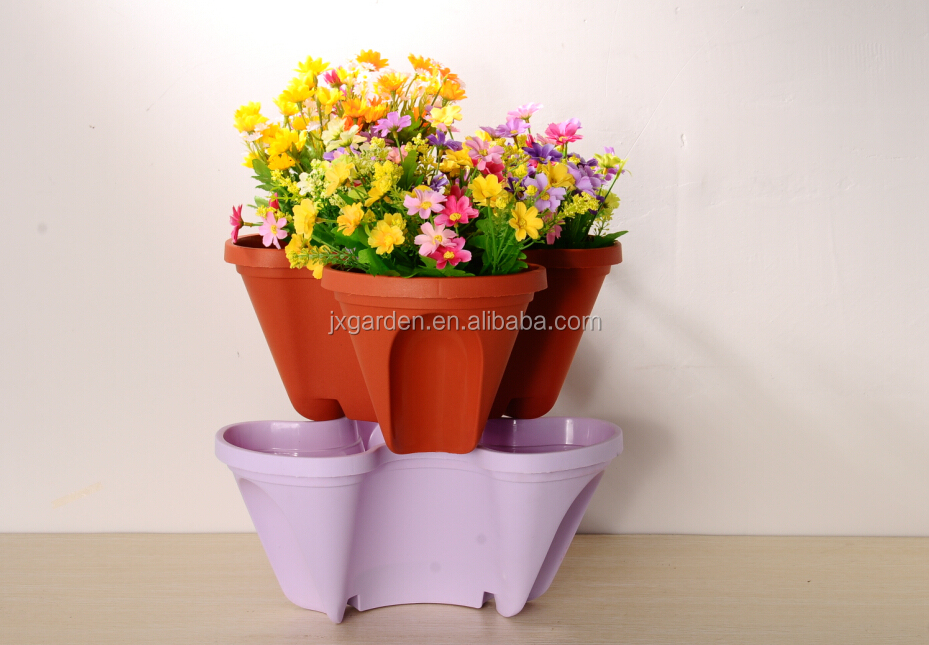 stckable colorful flower pot hydroponic site grow flower pot