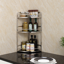 Stainless steel 3 tier kitchen corner spice rack 3c