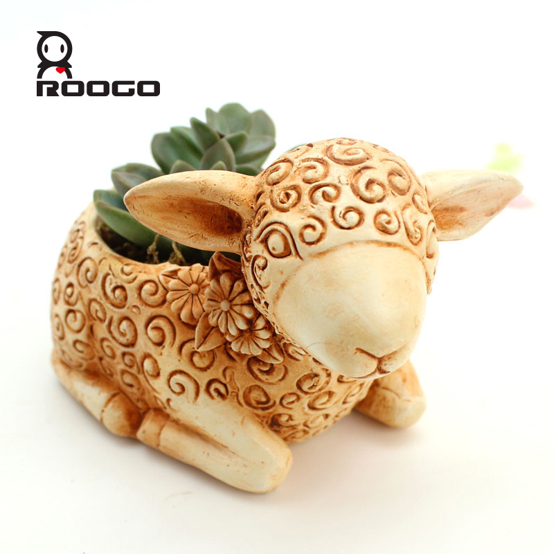 ROOGO Resin decorative sheep animal flower in planter