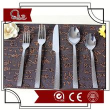 stainless steel flatware set with logo engraved hammered cutlery set