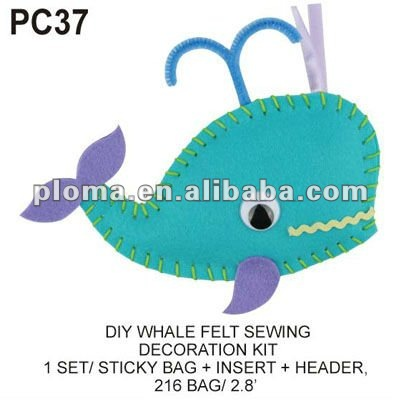 (PC37) DIY WHALE FELT SEWING DECORATION KIT Nonwoven Fabric
