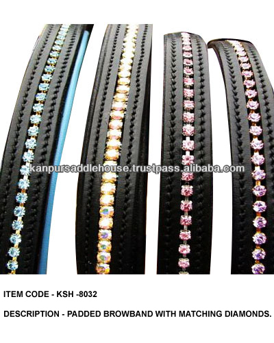 Horse bling leather browbands