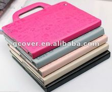 New design handle case for ipad, for ipad 3 shining leather case