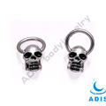 Stainless steel body piercing jewelry men's circular barbell nose ring with skull head
