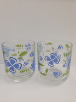 DRINKING WATER GLASS WITH FLOWER DESIGN,OLD FASHIONED GLASS TUMBLER