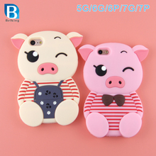 3D Carton Pig Silicon Cell Phone Case for iphone 5 6 6plus 7 7plus Silicon Mobile Pig Case