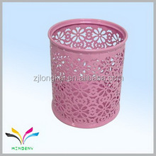 new style colorful pink desktop pen holder metal powder coated