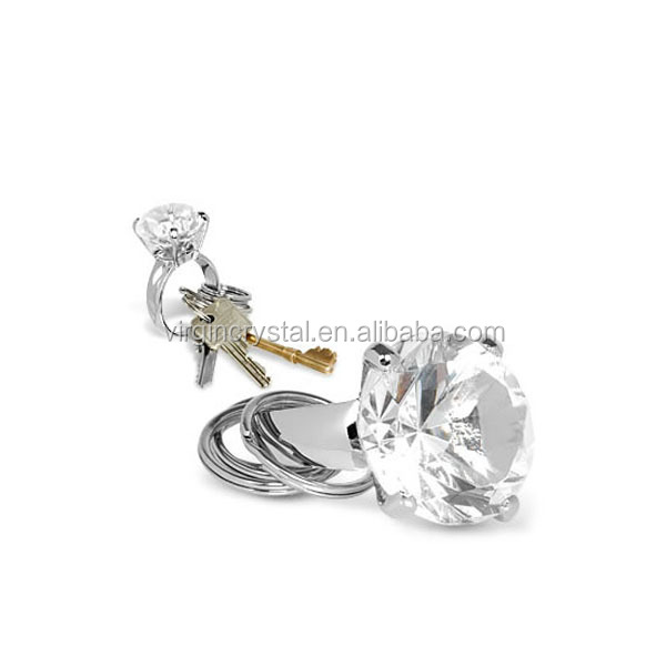 Wholesale crystal diamond top key ring/keychain/keyholder for wedding