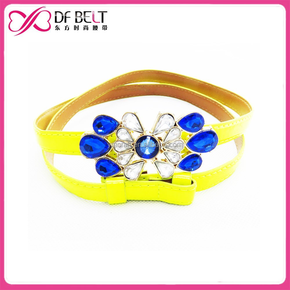 womans yellow pu leather skinny belt with rhinestone crystal belt