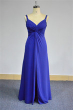 Cheap Elegant Real Picture Beaded Strap Ice Blue Prom Dress