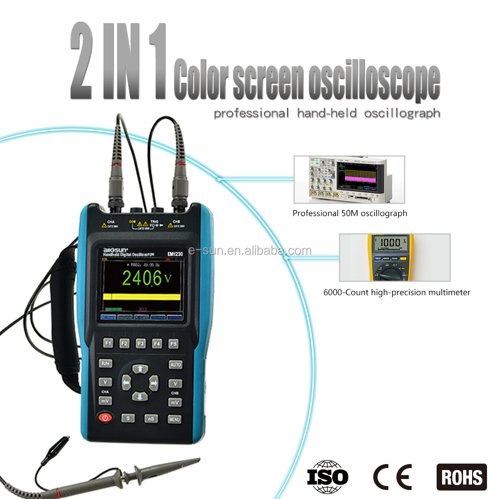 All-sun EM1230 Handheld Digital Storage Oscilloscope 25MHz 100M Sa/s Scope Meter with LED backlight stock in US
