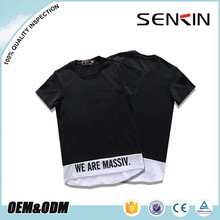 Summer trend new fashion long line mens curved hem t shirt