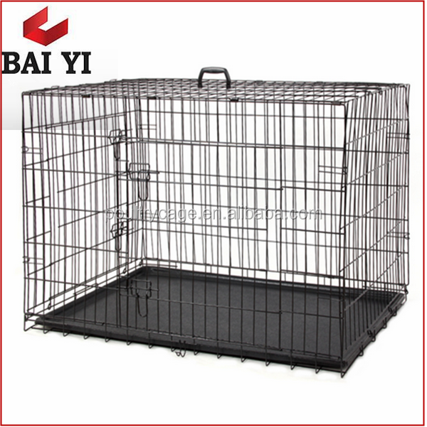 Pet Puppy Black Folding Animal Metal Dog Cages With Tray
