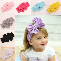 Pure color big bowknot in Europe and the elastic hair band Baby girl's hair band