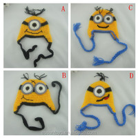 China supplier Crochet baby hats Autumn and winter earmuffs cap The minions boy modelling