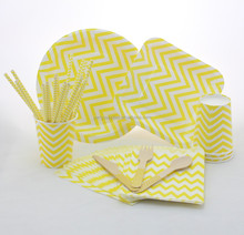 Supplies of Paper Straws Cups Plates Wooden Spoons Napkin Yellow Chevron Design Colorful Printing Party Products