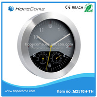 (M2510H-TH) 10 inch metal wall clocks with humidity temperature