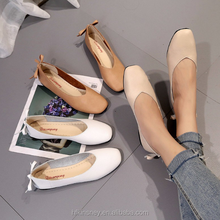 KS30477A Bowknot Design Casual Style Ladies Nude Flat Shoes