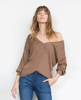 V neck thin sweater for women V front and back knitwear acrylic sweater