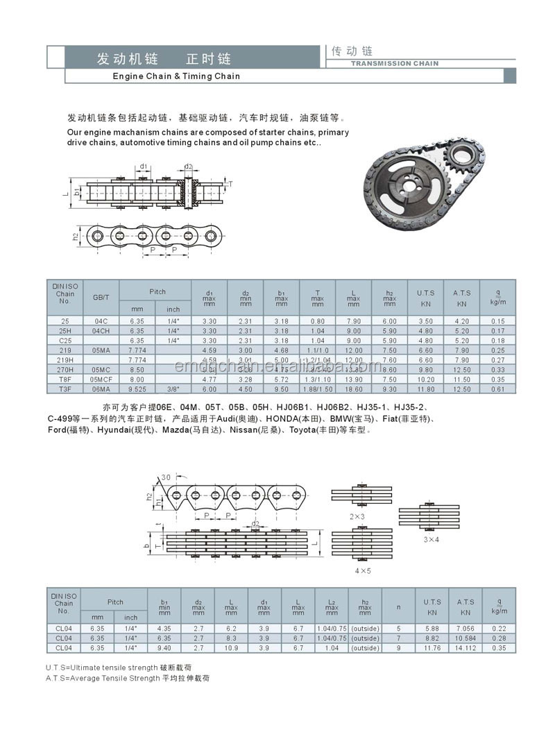 C7 Motorcycle Part Motorcycle Chain Timing Chain CL07 3X4