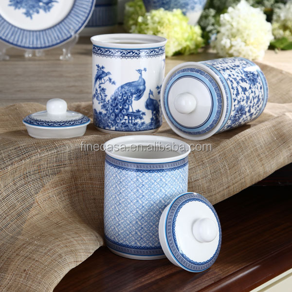 800cc Elegant Fine New Bone China Blue and White Canister