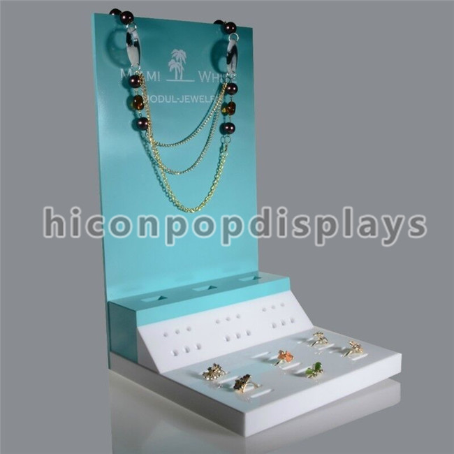 Jewelry Retail Store Counter Top Custom Acrylic Gloden Wedding Ring And Beaded Necklace Display Stand