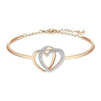 Fashion 14K rose gold adjustable heart rhinestone bangle bracelet