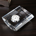 Fancy new crystal curved desk clock with customized logo as business gift