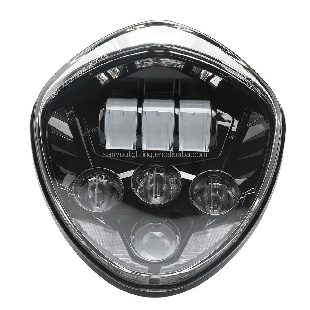 2018 high quality cross country led headlight fit for scooter polaris victory motorcycle led headlight