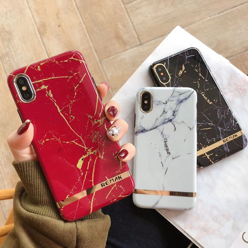 Hot Selling Luxury Gold Marble IMD Cover Mobile Phone Shell XR Xs Max Custom Logo Cell Phone Cover for iPhone 8 7plus 6s Case