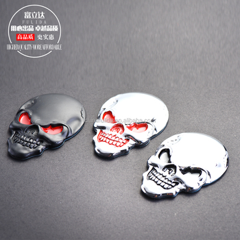 Chrome 3D skull Skeleton Car Motorcycle body Badge Emblem Sticker