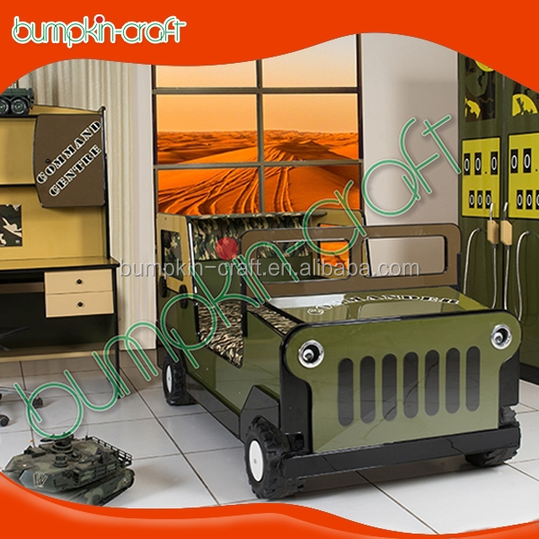 Wholesale wooden Camouflage kids jeep car bed