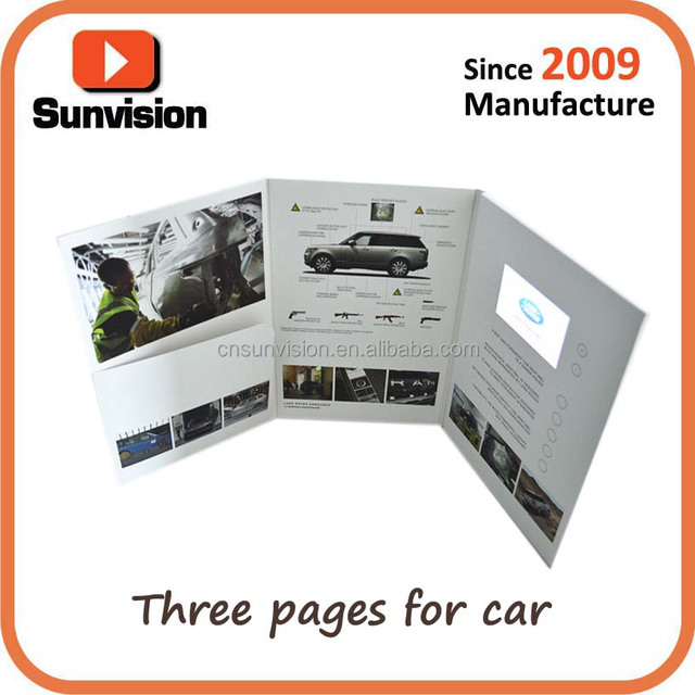 4.3inch Customized printing Video brochure LCD video mailer for CAR