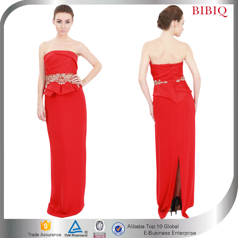 Women Strapless Ladies Evening Gowns Slit Red Long Prom Party Dress