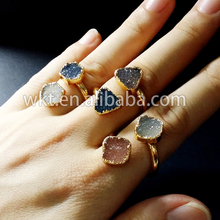 New!Natural double agate druzy ring, 24k gold plated adjustable fashhion druzy rings WT-R189