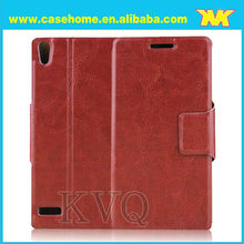 Leather flip mobile phone case for huawei ascend P6