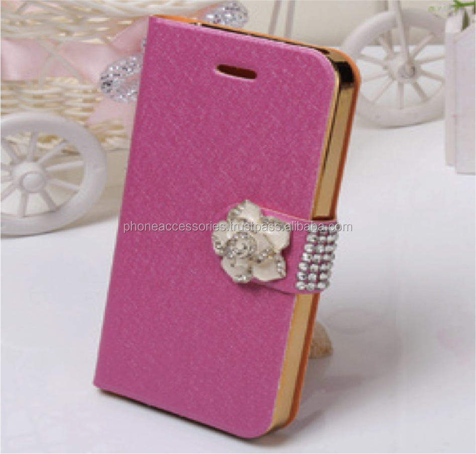 Flower button leather flip case for iPhone 6, iPhone 5 and iPhone 4 and for Samsung S5 and Note 3