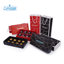 Custom design Chocolate black/red packaging craft cardboard paper bakery boxes for gifts