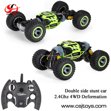 2.4G 4WD 4-wheel drive 10km/h Double Sided Remote control Stunt Car One Key Deformation Vehicle Rock Crawler Off-road rc Truck