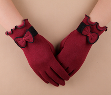 fashion cotton winter glove touch screen gloves warmer with bow wholesale