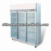 3-swing Door Display Fridge/Freezer with Top Mounted Fully Removable Refrigeration DeckInsulation