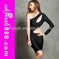 Black hot sexy one-shoulder long sleeve bodycon dresses knee length