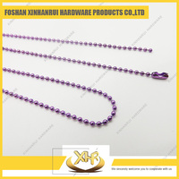 Purple Metal Bead Chain Necklace Color Ball Chain Necklace 2.4*35""