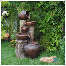 Beautiful antique resin garden water fountain with pots