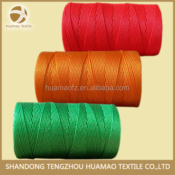 HM 100% high tenacity plied color dyed pp plastic twine