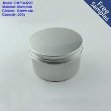 6.67oz 200ml round aluminum tin canister with screw cap, 200g aluminum slip tin for soy wax candle