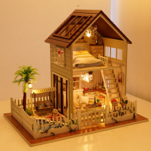 3D Assembling puzzle DIY Miniature Model Kit Wooden Doll House Paris Apartment House Toy with Furnitures